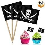 Palillo de Dientes para Decoración 150pcs Pirate Palillos con Banderas de Pasteles Comida Aperitivo Cóctel Magdalen Palillos de Dientes de Cóctel para Fiestas Temáticas Piratas