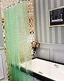 BSTT Cortinas de Ducha antimoho y Lavables PEVA Cubo 3D Cortina de baño Decorativa para el hogar y el Hotel Verde 180 x 180 cm