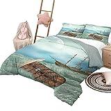 Juego de colchas de 3 piezas Juegos de cama de fantasía para niños, baúl antiguo doble en olas del océano con imagen de barco pirata de pájaro mágico, tamaño king, verde menta, caramelo claro