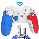 COODIO Mando Pro Para Nintendo Switch, Mando Inalámbrico Switch, Nintendo Switch Controller Gamepad Joystick + Type-C Cable de iluminación LED Para Nintendo Switch, Azul/Rojo