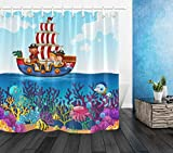 dsgrdhrty Capitán Pirata y Marinero Cortina de baño Ducha Estilo Decorativo Impermeable 180x180
