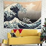 Hothotvery Tapiz japonés de gran ola frente a Kanagawa, barco pirata Ukiyoe, tapiz de pared impreso, duradero, para cama, decoración para salones, color blanco, 230 x 150 cm