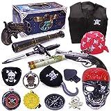 HEITIGN 16Pcs / Set Conjunto de Cosplay de Pirata de Halloween, Espadas Brújulas Dagas Máscaras Ropa Sombreros de Pirata Binoculares Medallas Vestir Prop, Caja de Tesoro Pirata para Niños Juguete