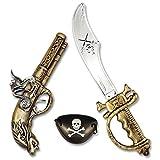 German Trendseller 1x Piratas - Armas de Combate - Conjunto - Deluxe -┃Oro┃Carnaval┃Caribe┃Fusil + Espada + Parche de Ojo ┃Conjunto Piratas