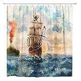 JOOCAR Cortina de ducha de diseño, diseño de barco pirata del Caribe, acuarela, tela impermeable, juego de decoración de baño con ganchos