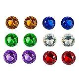 12 unidades de cristal redondo joyas de diamantes