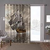 YUAZHOQI cortinas correderas de cristal para puerta, océano, barco pirata, barco marítimo, 100 x 108 pulgadas, privacidad vertical persiana para sala de estar (1 panel)