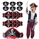 Herefun Pirata Niños Accesorios, Pirata capitán Accesorios 6 Pirata máscara de Ojos + 6 Sombrero Pirata + 6 Pirata Pegatinas, Fiesta Pirata Accesorios para Tema Pirata Cosplay Fiesta Niños