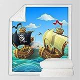 Ropa de cama Mantas de pirata para camas Manta de Sherpa de barco de dibujos animados Manta de colcha de océano náutico 150 * 200 cm