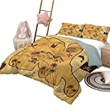 Nomorer Juego de Colcha de Colcha, tamaño King, patrón de brújula, Cubierta de Cama, Mapa Antiguo, Tesoro Pirata