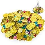 FORMIZON 100 Piezas de Monedas Doradas de Plástico de Pirata, 109 Piezas de Gemas Piratas, Monedas de Oro y Gemas Piratas del Tesoro Pirata para Fiestas Temáticas Piratas
