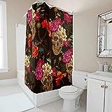 Sweet Luck - Cortina de Ducha antimoho con diseño de Calaveras y Flores, Resistente al Agua, Lavable, de poliéster, con Anillas para la bañera, Negro, 150 x 200cm