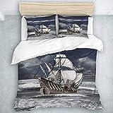 Juego de Funda nórdica, Cielo Nublado, Barco Pirata del Caribe, impresión al óleo como Imagen artística, decoración de habitación de Lujo, 3 Piezas