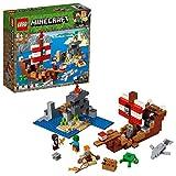 LEGO Minecraft - La Aventura del Barco Pirata, juguete de construcción y aventuras en el mar (21152)