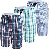 JINSHI Pantalones Cortos Algodón a Cuadros Pijamas de Salón para Hombres Paquete de 3 Color Claro Talla M