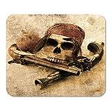 Mousepad Computadora Bloc de Notas Oficina Barco Pirata Grunge Pistola de Halloween Carnaval Cráneo Esqueleto de Coco Barbanegra Hogar Escuela Juego Jugador Computadora Trabajador Pulgada