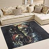 Guan_Collection Alfombra de área Que Brilla en la Oscuridad con diseño de Esqueleto Pirata para salón, Comedor, Dormitorio, decoración del hogar, 160 x 122 cm