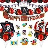 Pushingbest Decoraciones Cumpleaños, Decoración de Feliz cumpleaños Piratas, Estandarte, Bandera Triangular, Pompones de Papel tisú, Globos de Aluminio, Globos de látex y Adorno de Pastel