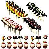 48 piezas de Toppers de Pastel Pirata, Decoración Torta Pirata de Toppers, para Cumpleaños de Niños, Halloween, Fondos de Fotos y Accesorios, Decoración de Fiesta