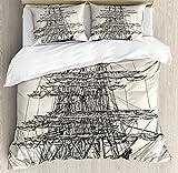 KIMDFACE Juego de Funda nórdica de Barco Pirata, velero Ilustración Detallada Tema náutico marítimo Arte de Estilo Vintage, Juego de Cama Decorativo de 3 Piezas con 2 Fundas de Almohada Negro Crema