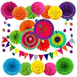 Zerodeco Decoración de la Fiesta, 21 Piezas Abanicos de Papel Bola de Nido Pom Poms Ventilador Cumpleaños Boda Carnaval Bebé Ducha Home Party Supplies Decoración (Multi)