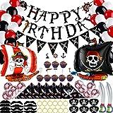 98 Piezas de Decoración de Fiesta de Cumpleaños Pirata, Pirata Cumpleaños Banner Globos Bigotes Cupcake Topper Capitán Parches para Los Ojos Bandana Espada Inflable Plástico Pendiente de Oro