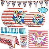Amycute 12 Invitados Set Vajillas Pirata Infantil Cumpleaños, Platos de Pirata Rayas Rojas y Blancas, Vasos, Cubiertos para Pirata Party