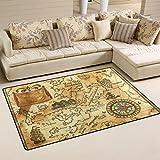 coosun Viejo Pirata Mapa con rosa de los vientos área alfombra alfombra alfombra de suelo antideslizante Doormats para salón o dormitorio, tela, multicolor, 60 x 39 inch,152.4 x 99.1 cm