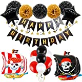 Haosell - Globos de fiesta de cumpleaños, piratas para cumpleaños infantiles, globos piratas, decoración de fiesta de cumpleaños, fiestas de piratas, globos de papel, banderines de cumpleaños