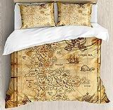 Conjuntos de ropa de cama del mapa de la isla, mapa del tesoro súper detallado Tema de la historia del mar secreto dorado de los piratas sucios, juego de funda nórdica de 3 piezas Colcha para niños /