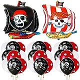BESTZY 20 Piezas Decoraciones de Fiesta de Cumpleaños Pirata, Globos de Aluminio Globos Rojos y Negros Artículos de Fiesta Pirata para Decoración de Fiesta de Cumpleaños Infantil