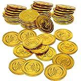50 monedas de oro de plástico, monedas de juguete de dinero falso del tesoro pirata, moneda de juego de caza del tesoro infantiles, decoración de cumpleaños y suministros para fiestas