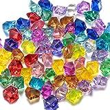FUNLAVIE 60 Diamantes de Acrílico Multicolores Joyas del Tesoro del Pirata para Fiesta Utilería Rellenos de Vaso / Decoraciones de Boda