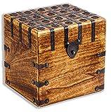 Cofre del tesoro 20 x 20 x 17,5 cm, madera maciza,...