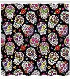 SHUHUI Cortina de Ducha con diseño de Calavera de azúcar, decoración de Cementerio Mexicano, máscara de diseño sobre Fondo Negro, Juego de decoración para Cuarto de baño con Negro y Verde