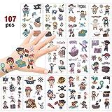 Konsait 100+ Pcs Pirata Tatuaje Niños, Falso Tatuajes temporales Pegatinas para niños Chicos Niñas Pirata Infantiles Fiesta de cumpleaños Regalo piñata