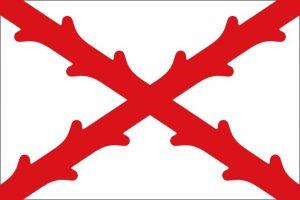 Bandera tradicional de España con la Cruz de Borgoña