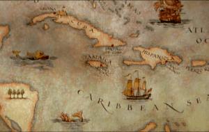 Mapa de las principales islas del Mar Caribe con Cuba y La Española