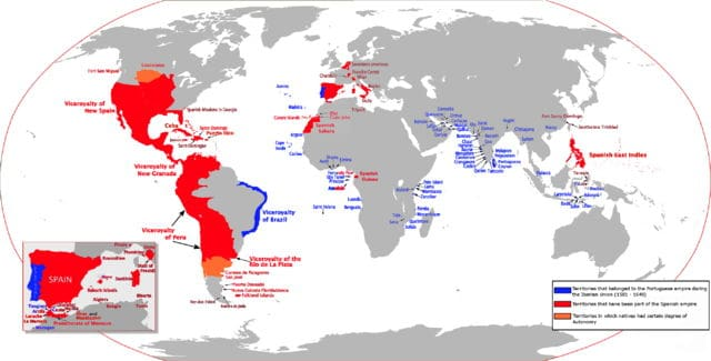 Mapa mundial con los territorios del Imperio Español