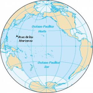 Mapa del Oceano Pacífico con América y Asia