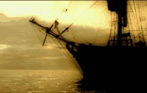 Barco con apariencia fastamagorica anclado en la noche