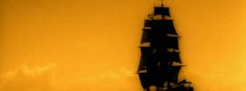 Buque corsario navegando a toda vela