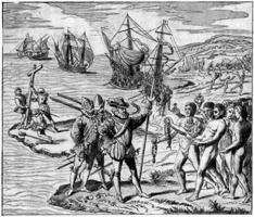 Pintura sobre el Desembarco de Colon
