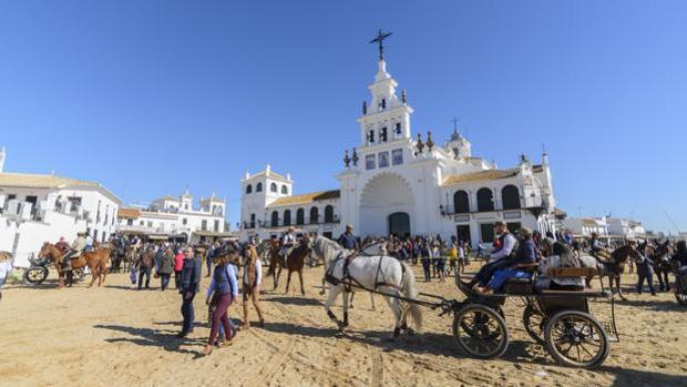 Llegada de peregrinos al Rocío