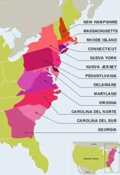 Mapa de las 13 colonias inglesas de Norteamérica