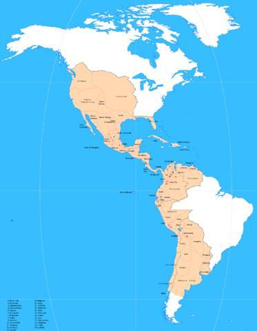 Mapa de los territorios hispanos de América en el año 1800