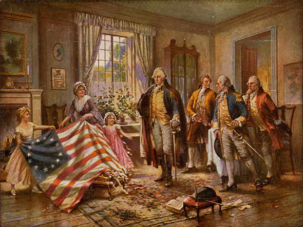 George Washington con bandera de Estados Unidos y damas