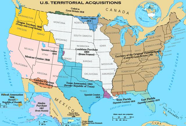 Mapa de la expansión de U.S hacia el Pacífico