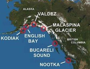 Mapa de Alaska y toponimos españoles