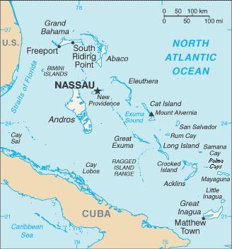 Mapa Islas de las Bahamas